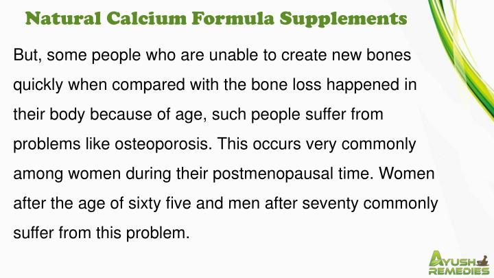 Natural Calcium Formula Supplements