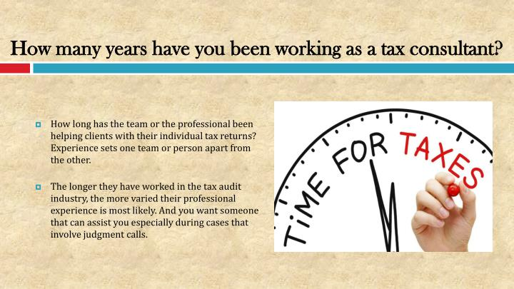 How many years have you been working as a tax consultant?