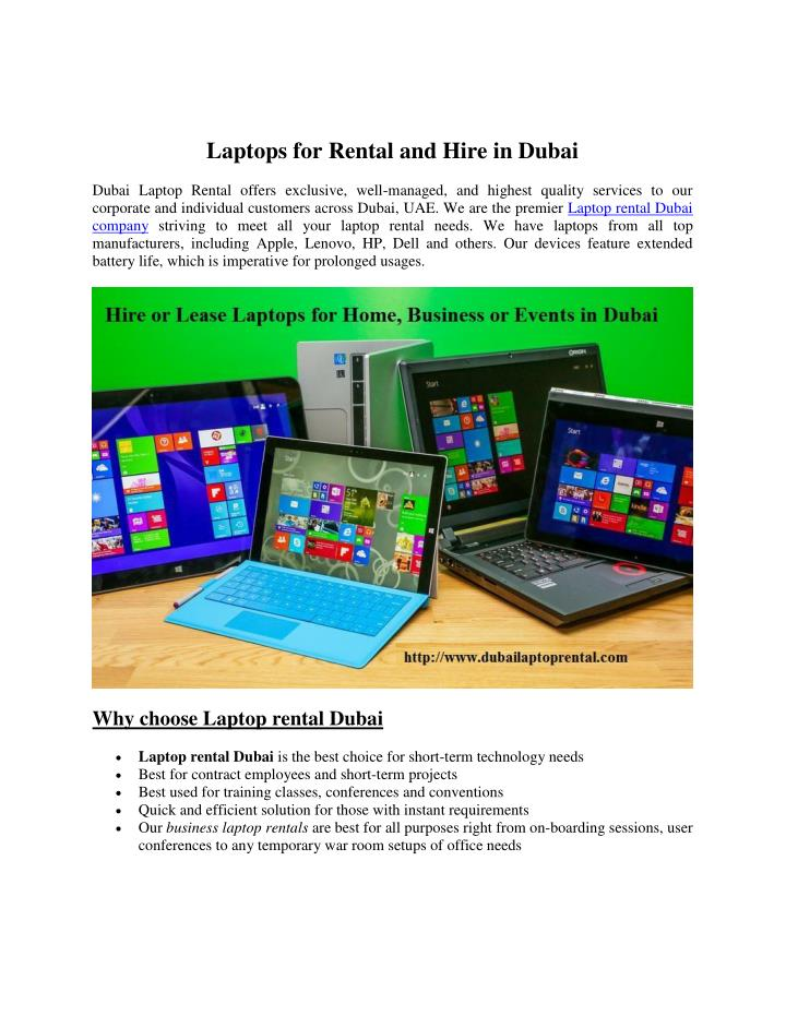 Laptops for Rental and Hire in Dubai