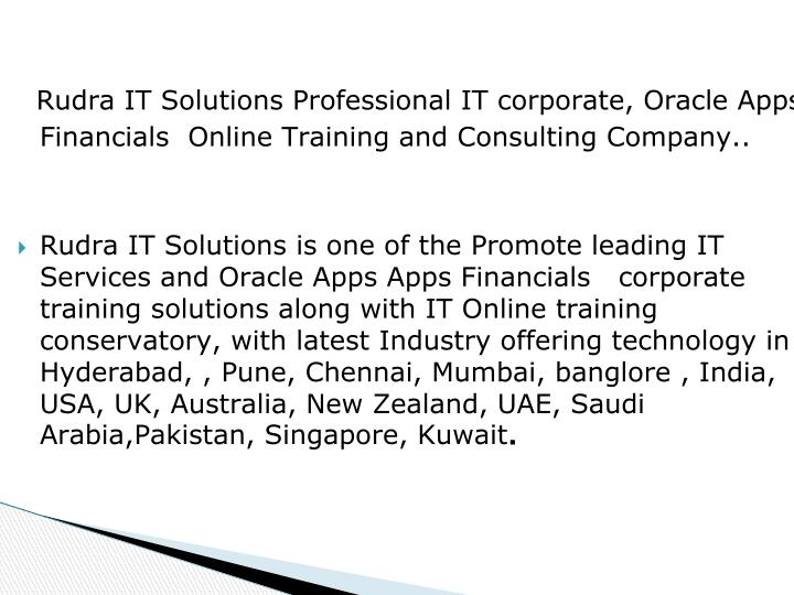 Rudra IT Solutions Professional IT corporate, Oracle Apps