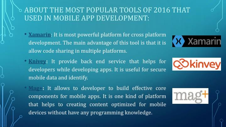 About the most popular tools of 2016 that used in mobile app development