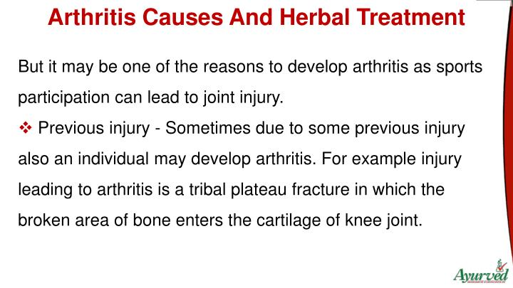 Arthritis Causes And Herbal Treatment