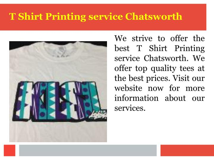 T Shirt Printing service Chatsworth