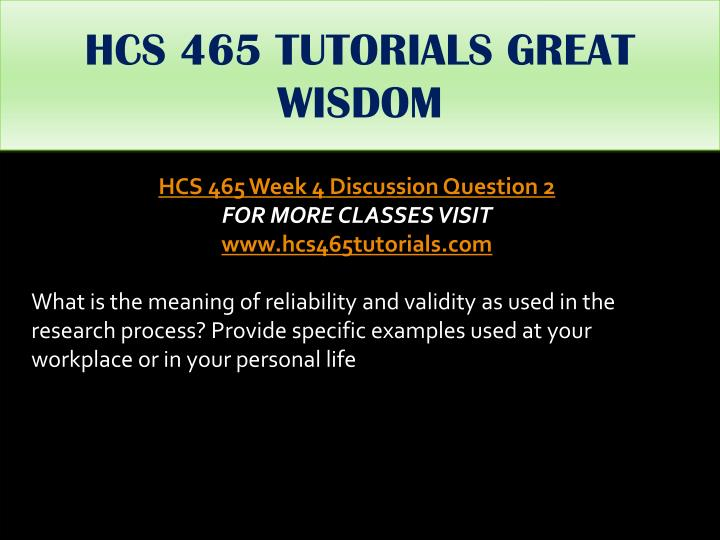 HCS 465 TUTORIALS GREAT WISDOM