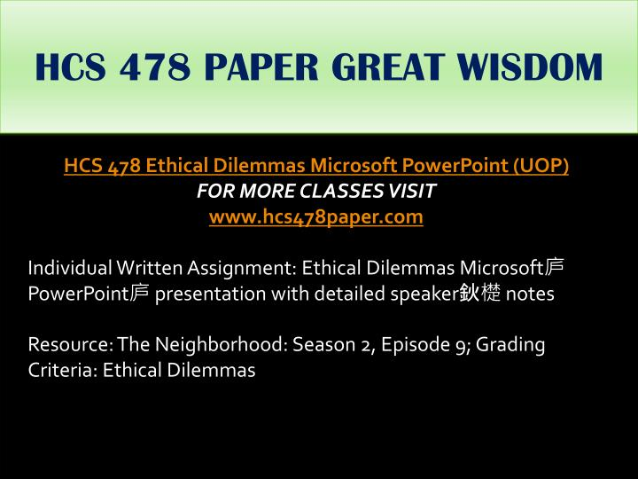 HCS 478 PAPER GREAT WISDOM