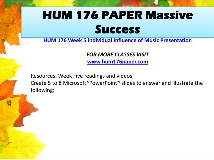 HUM 176 PAPER Massive Success