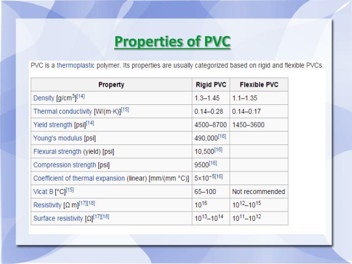 Properties of PVC