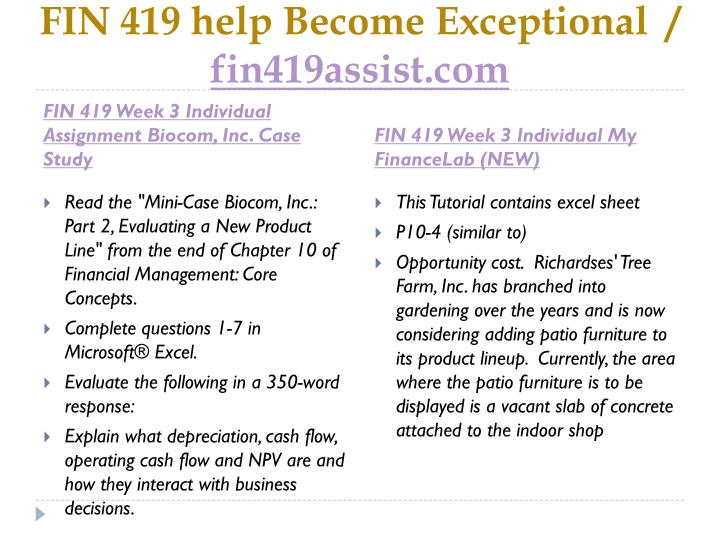 FIN 419 help Become Exceptional  /
