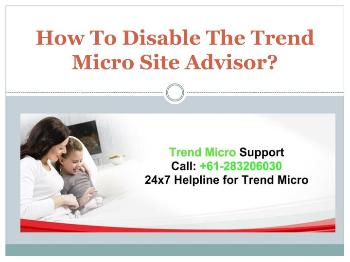 How to disable the trend micro site advisor