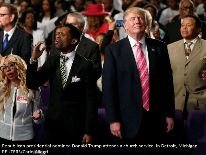 Republican presidential chosen one Donald Trump goes to a congregation benefit, in Detroit, Michigan. REUTERS/Carlo Allegri