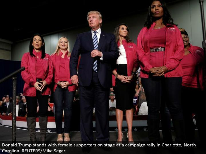Donald Trump remains with female supporters in front of an audience at a crusade rally in Charlotte, North Carolina. REUTERS/Mike Segar