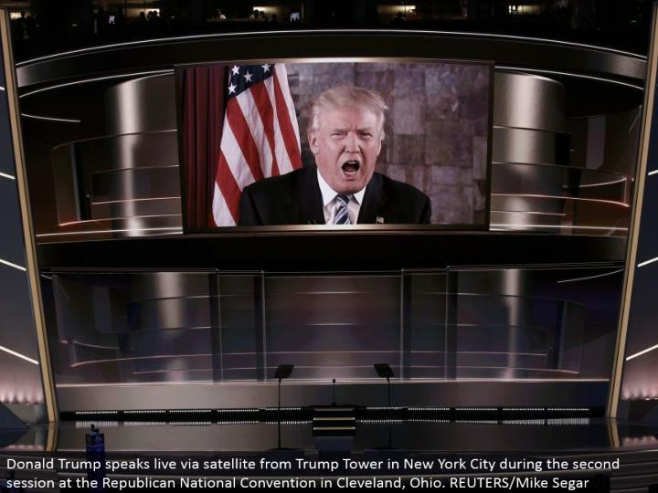 Donald Trump talks live by means of satellite from Trump Tower in New York City amid the second session at the Republican National Convention in Cleveland, Ohio. REUTERS/Mike Segar