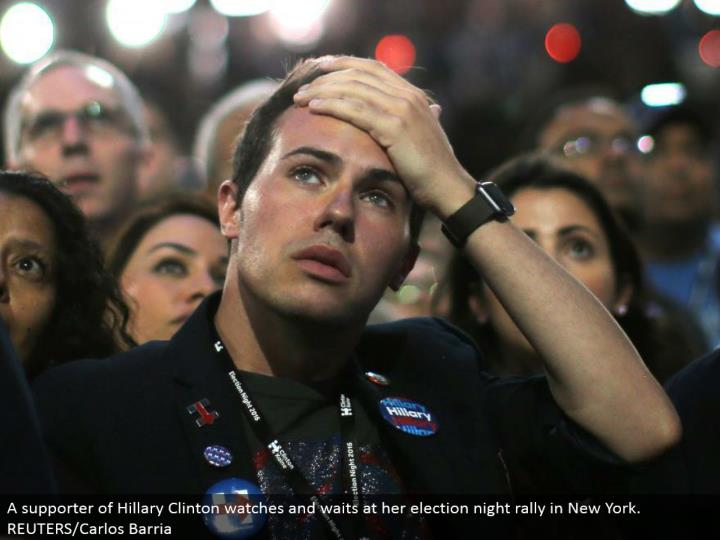A supporter of Hillary Clinton watches and holds up at her race night rally in New York. REUTERS/Carlos Barria