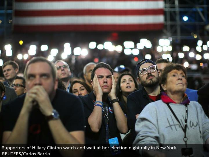 Supporters of Hillary Clinton watch and hold up at her race night rally in New York. REUTERS/Carlos Barria