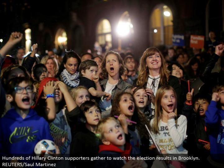 Hundreds of Hillary Clinton supporters assemble to watch the decision brings about Brooklyn. REUTERS/Saul Martinez