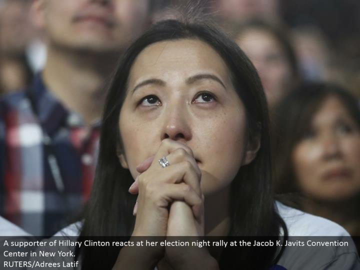 A supporter of Hillary Clinton responds at her decision night rally at the Jacob K. Javits Convention Center in New York. RUTERS/Adrees Latif