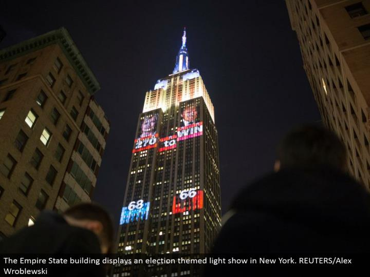 The Empire State building shows a race themed light show in New York. REUTERS/Alex Wroblewski