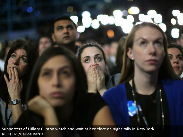 Supporters of Hillary Clinton watch and hold up at her decision night rally in New York. REUTERS/Carlos Barria