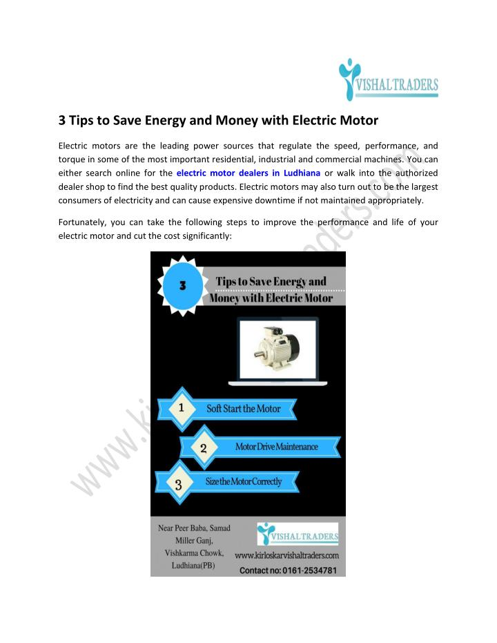 3 Tips to Save Energy and Money with Electric Motor