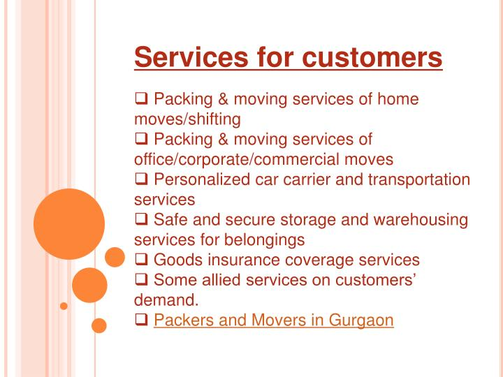 Services for customers