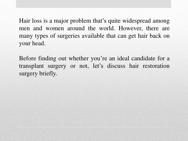 Hair loss is a major problem that's quite widespread among men and women around the world. However...