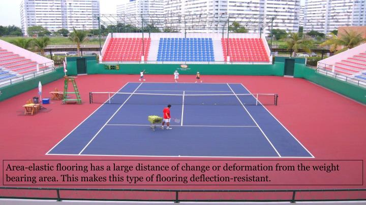 Area-elastic flooring has a large distance of change or deformation from the weight bearing area. This makes this type of flooring deflection-resistant.