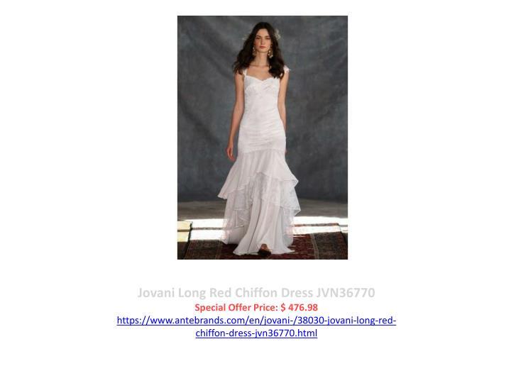 Jovani Long Red Chiffon Dress JVN36770