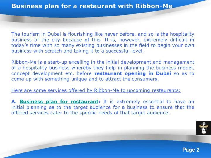 Business plan for a restaurant with Ribbon-Me