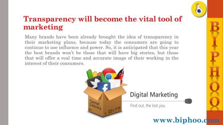 Transparency will become the vital tool of marketing