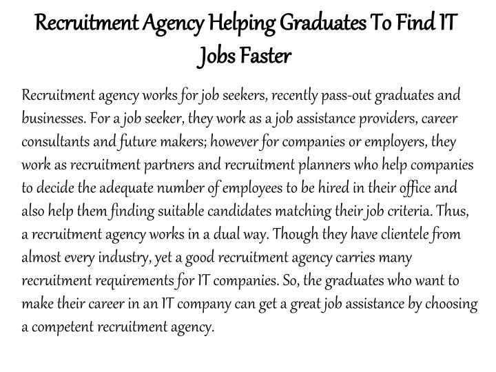 Recruitment Agency Helping Graduates To Find IT Jobs Faster