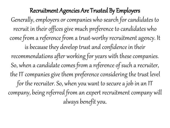 Recruitment Agencies Are Trusted By Employers