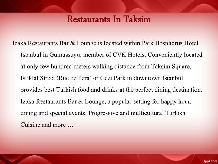 Restaurants In Taksim