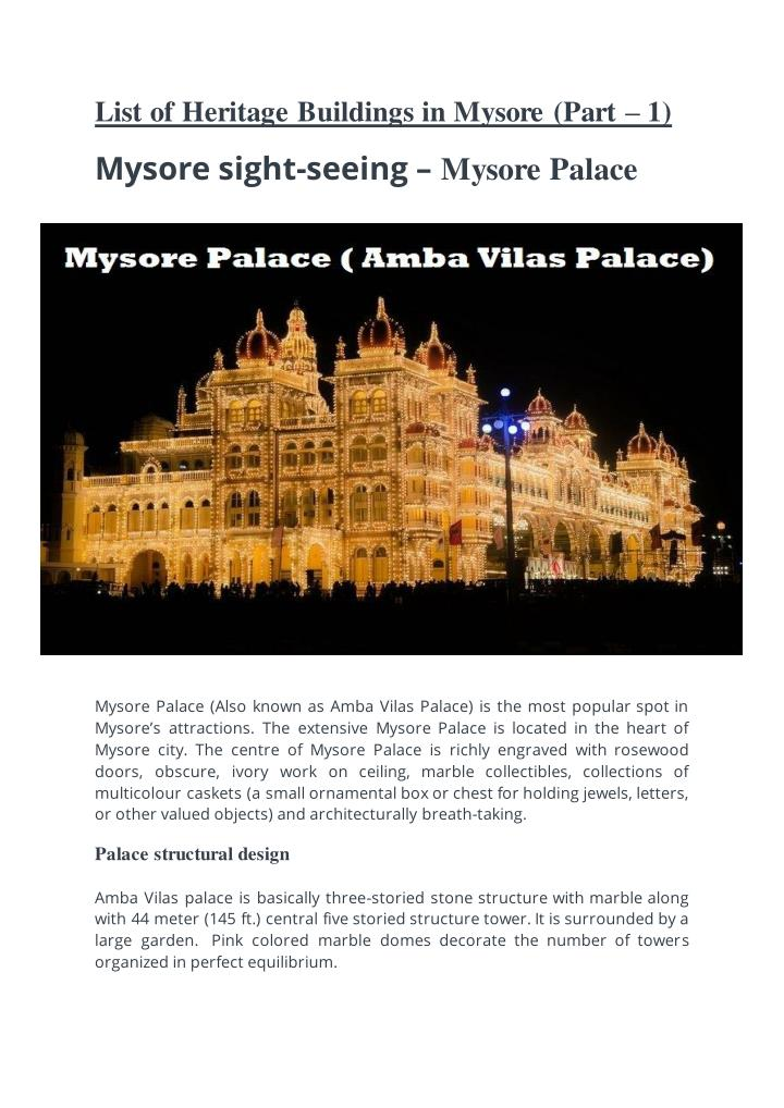 List of Heritage Buildings in Mysore (Part