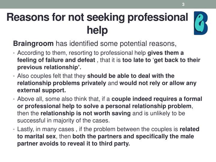 Reasons for not seeking professional help