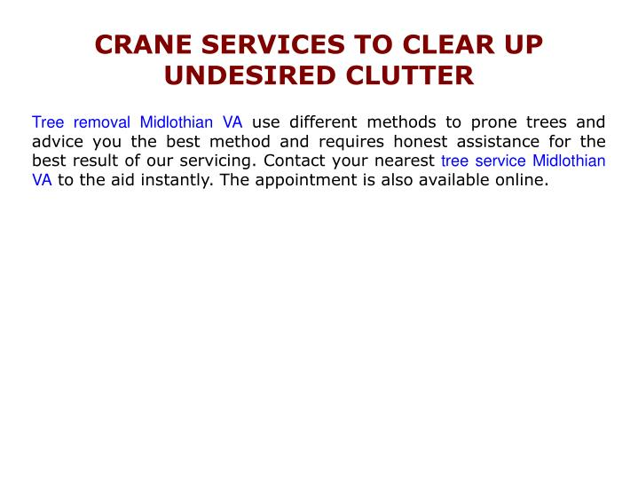 CRANE SERVICES TO CLEAR UP UNDESIRED CLUTTER