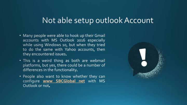 Not able setup outlook Account
