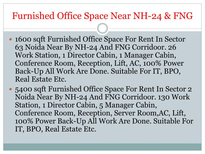 Furnished Office Space Near NH-24 & FNG