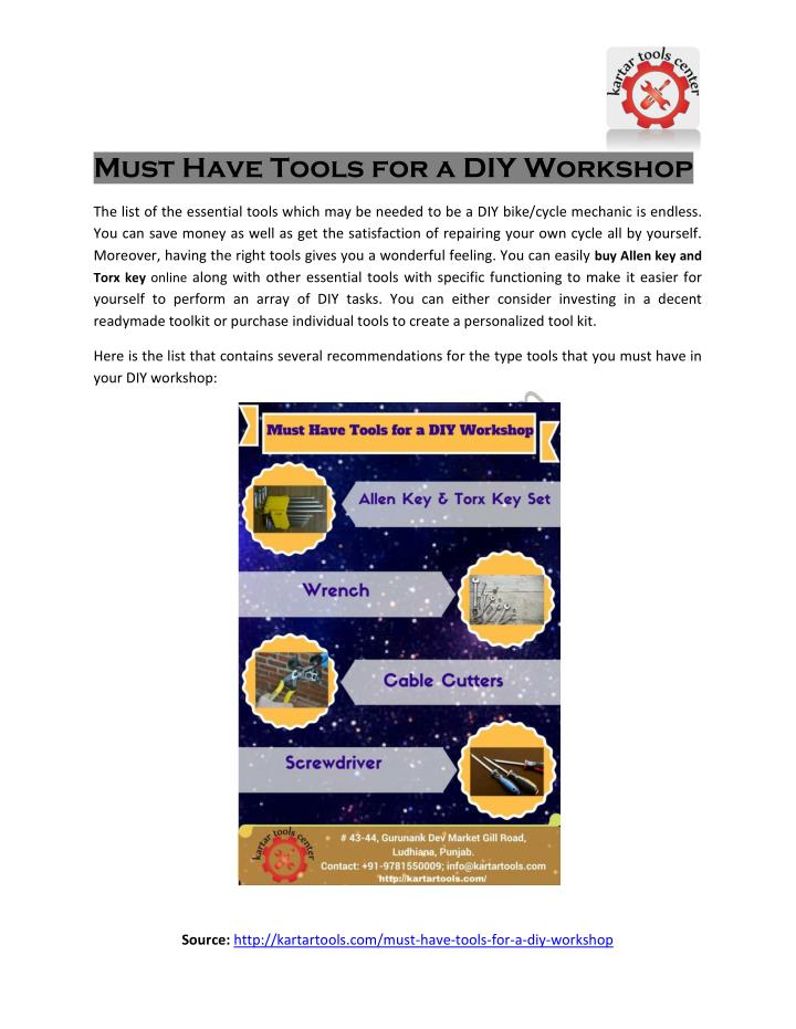 Must Have Tools for a DIY Workshop
