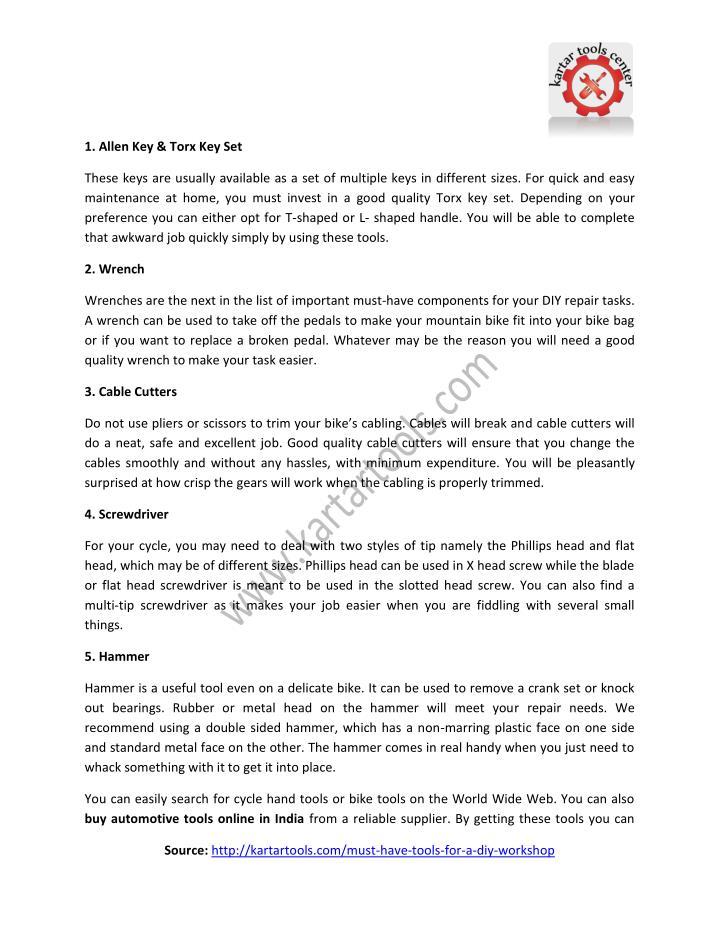 1. Allen Key & Torx Key Set