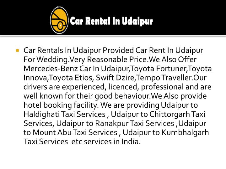 Car Rentals In Udaipur Provided Car Rent In Udaipur For