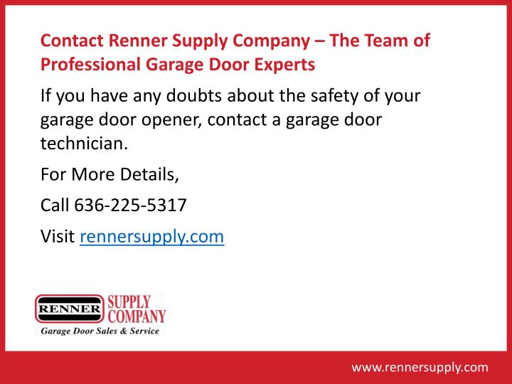 Contact Renner Supply Company – The Team of Professional Garage Door Experts