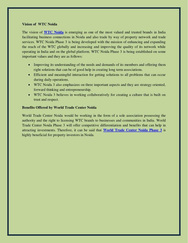 Vision of  WTC Noida