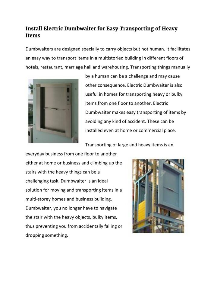 Install Electric Dumbwaiter for Easy Transporting of Heavy