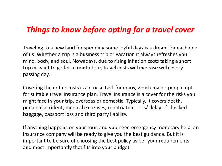 Things to know before opting for a travel cover