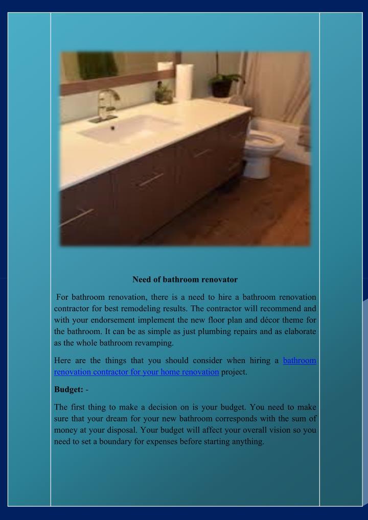 Need of bathroom renovator