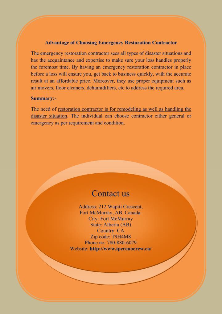 Advantage of Choosing Emergency Restoration Contractor