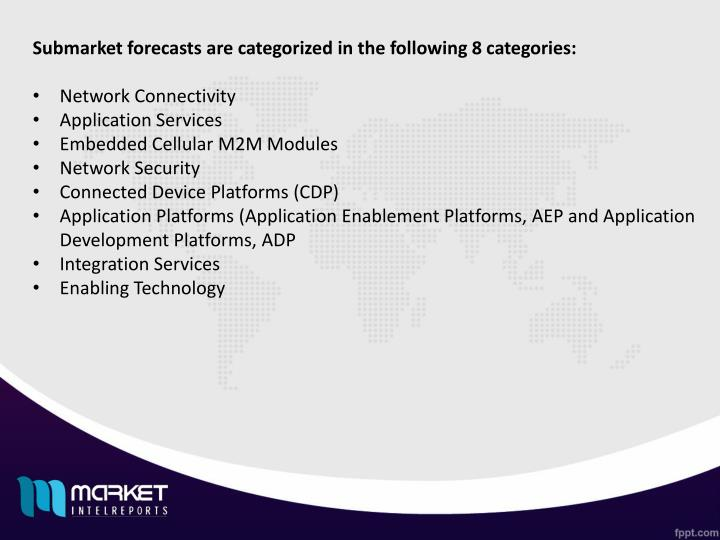 Submarket forecasts are categorized in the following 8 categories: