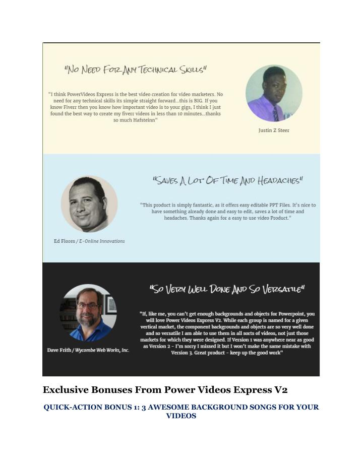 Exclusive Bonuses From Power Videos Express V2