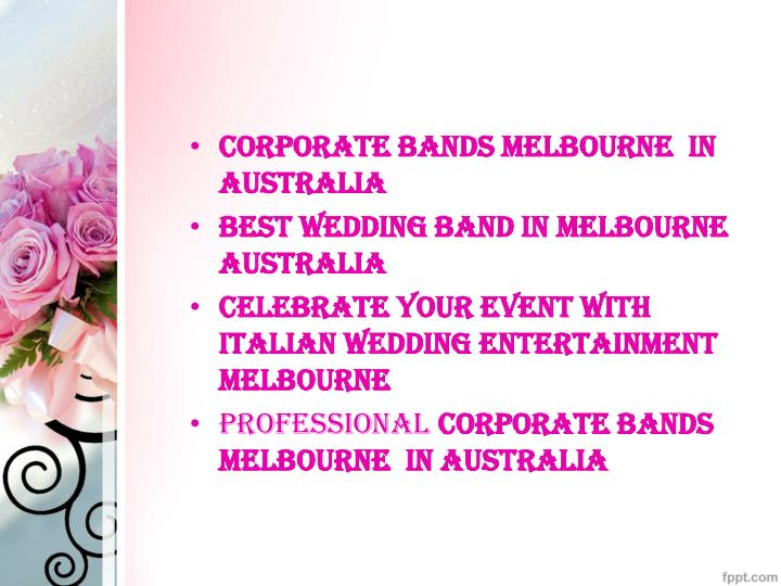 Corporate bands Melbourne  in Australia