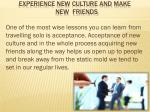 experience new culture and make new friends